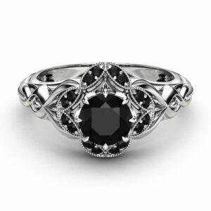 Black Diamond Designer Engagement Ring 14K White Gold Engagement Ring Black Diamonds Designer Ring