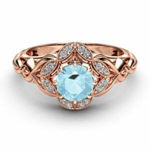 Aquamarine Designer Engagement Ring 14K Rose Gold Engagement Ring Unique Aquamarine Designer Ring