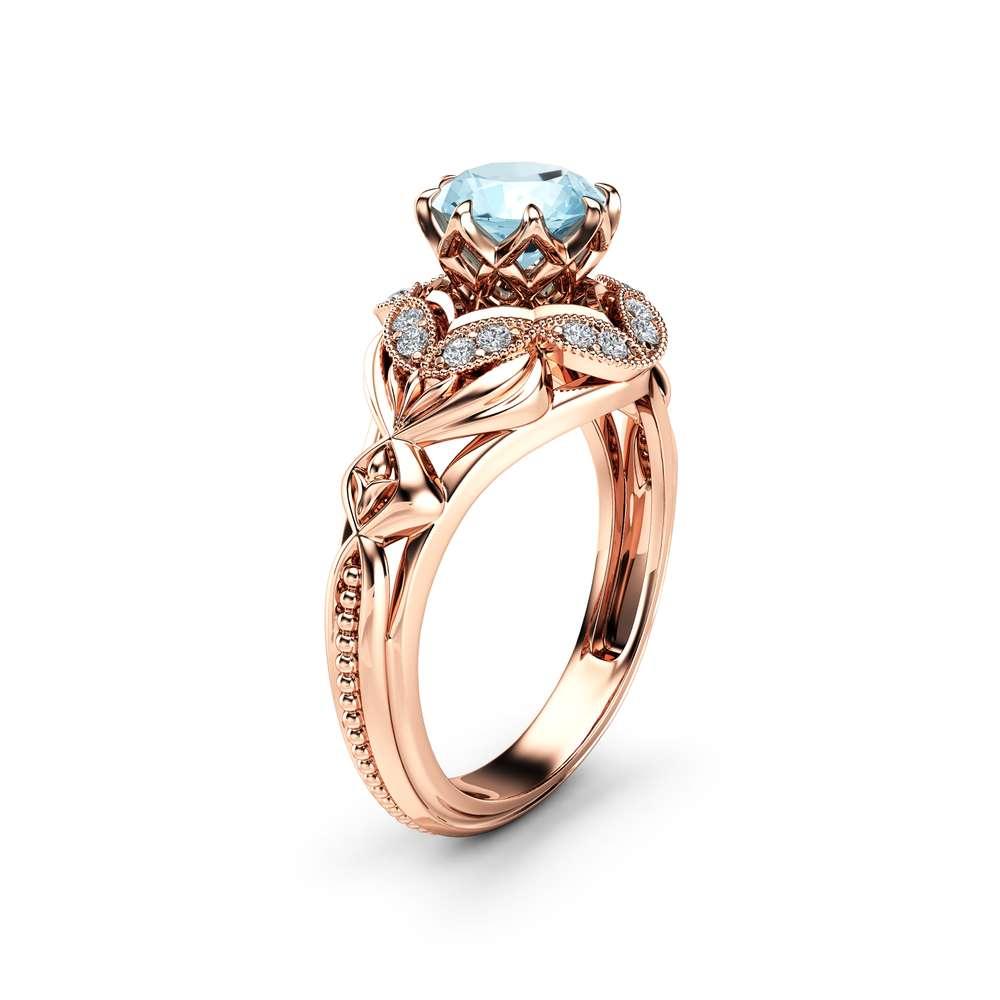 Blue Moissanite Engagement Ring 14K Rose Gold Ring Edwardian Engagement Ring