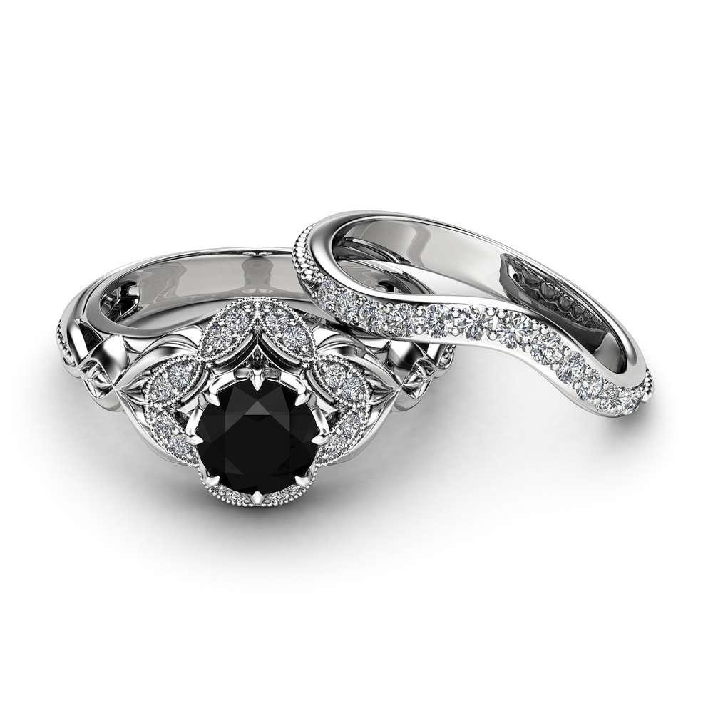 Black Diamond Engagement Matching Rings Art Deco White Gold Ring Set Natural Black Diamond Engagement Ring