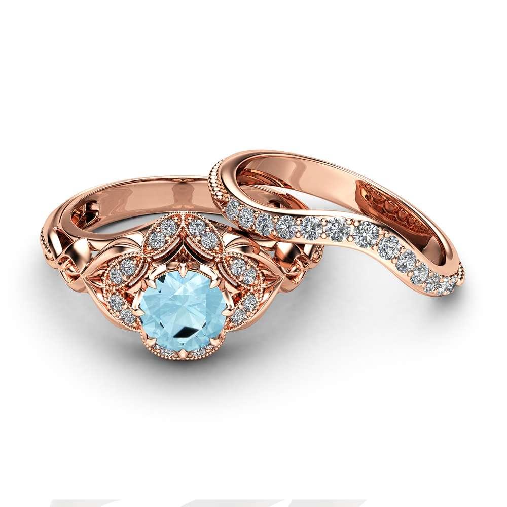 Aquamarine Engagement Matching Rings Art Deco Rose Gold Ring Set Aquamarine Diamonds Engagement Ring