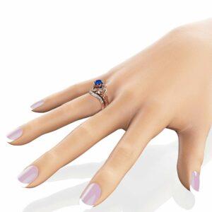 Sapphire Engagement Matching Rings Art Deco Rose Gold Ring Set September Birthstone Ring