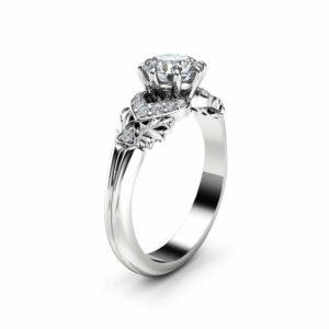 0.75CT Natural Diamond Engagement Ring 14K White Gold Diamond Ring Leaf Engagement Ring