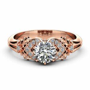 0.75CT Natural Diamond Engagement Ring 14K Rose Gold Diamond Ring Leaf Engagement Ring