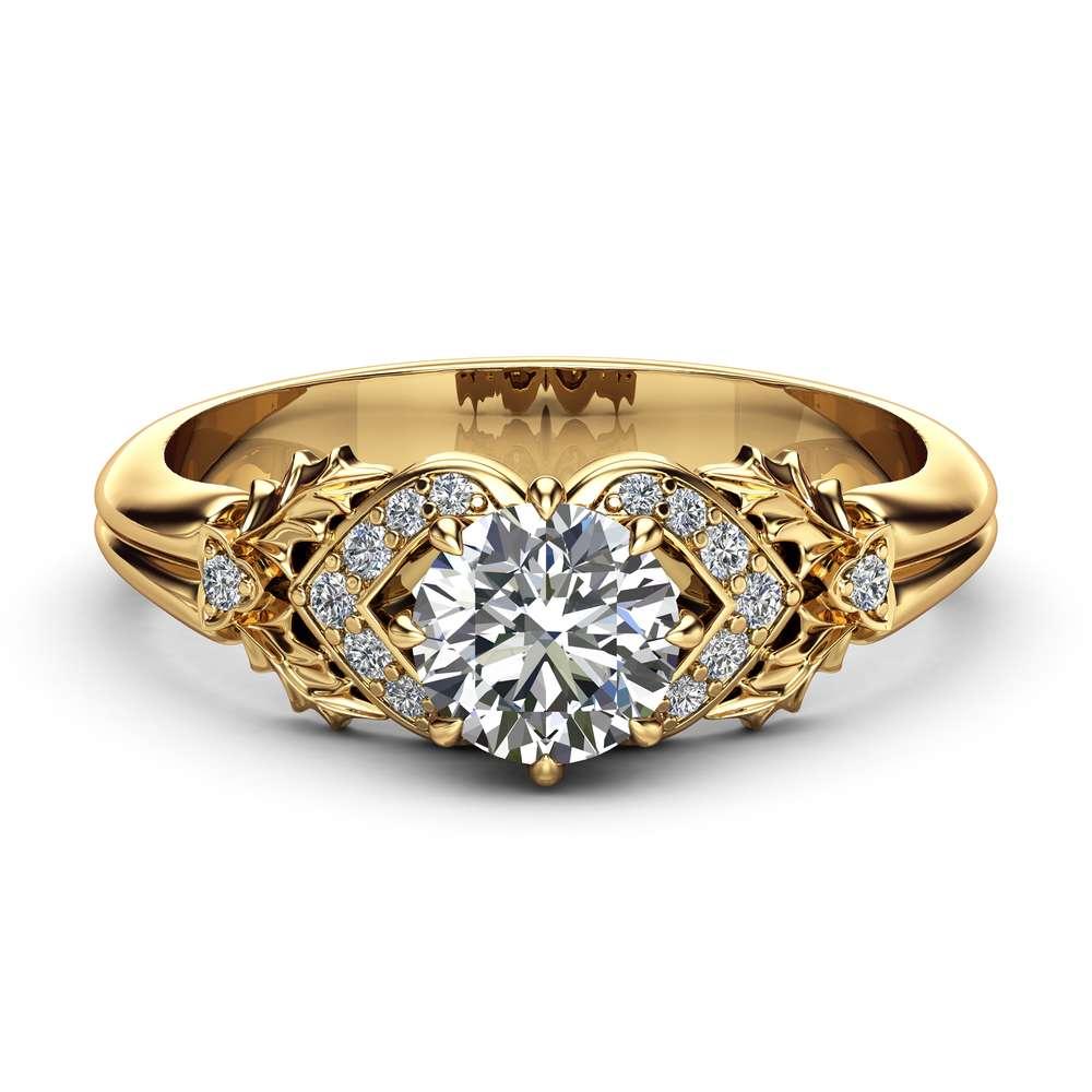 0.75CT Natural Diamond Engagement Ring 14K Yellow Gold Diamond Ring Leaf Engagement Ring
