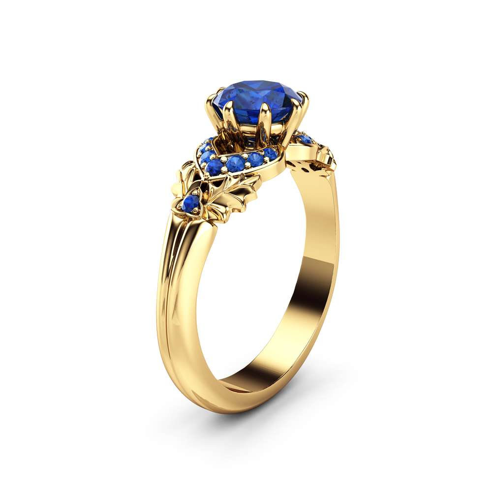 1CT Natural Sapphire Engagement Ring 14K Yellow Gold Blue Sapphire Ring Leaf Engagement Ring