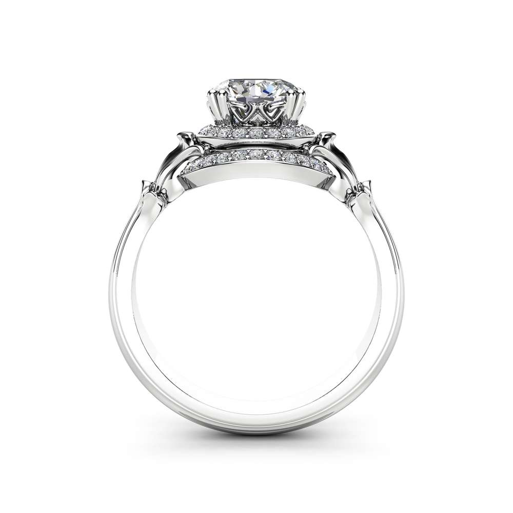 Unique Halo Moissanite Engagement Ring 14K White Gold Ring Victorian Ring