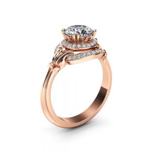 Unique Halo Moissanite Engagement Ring 14K Rose Gold Ring Victorian Ring