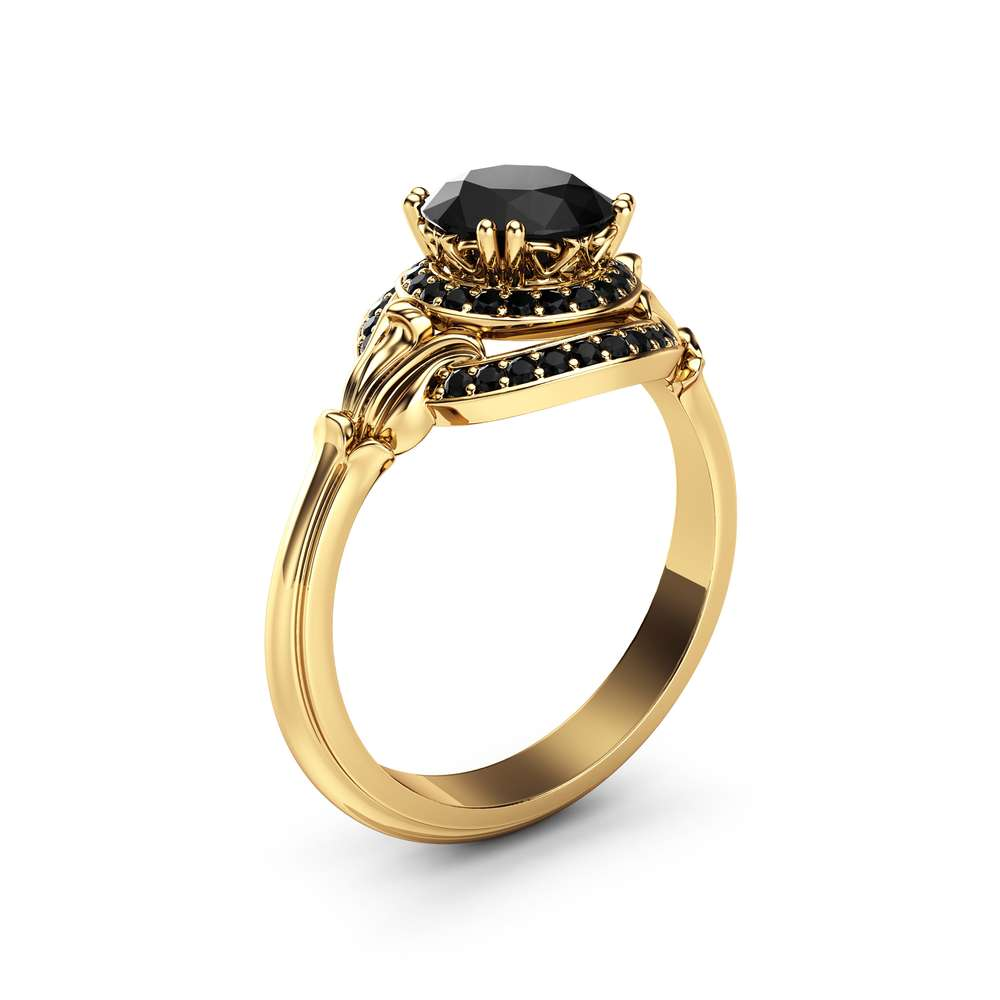 Unique Halo Black Diamond Engagement Ring 14K Yellow Gold Ring Victorian Ring