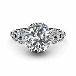 Halo Moissanite Engagement Ring 14K White Gold Ring Unique Twisted Halo Engagement Ring