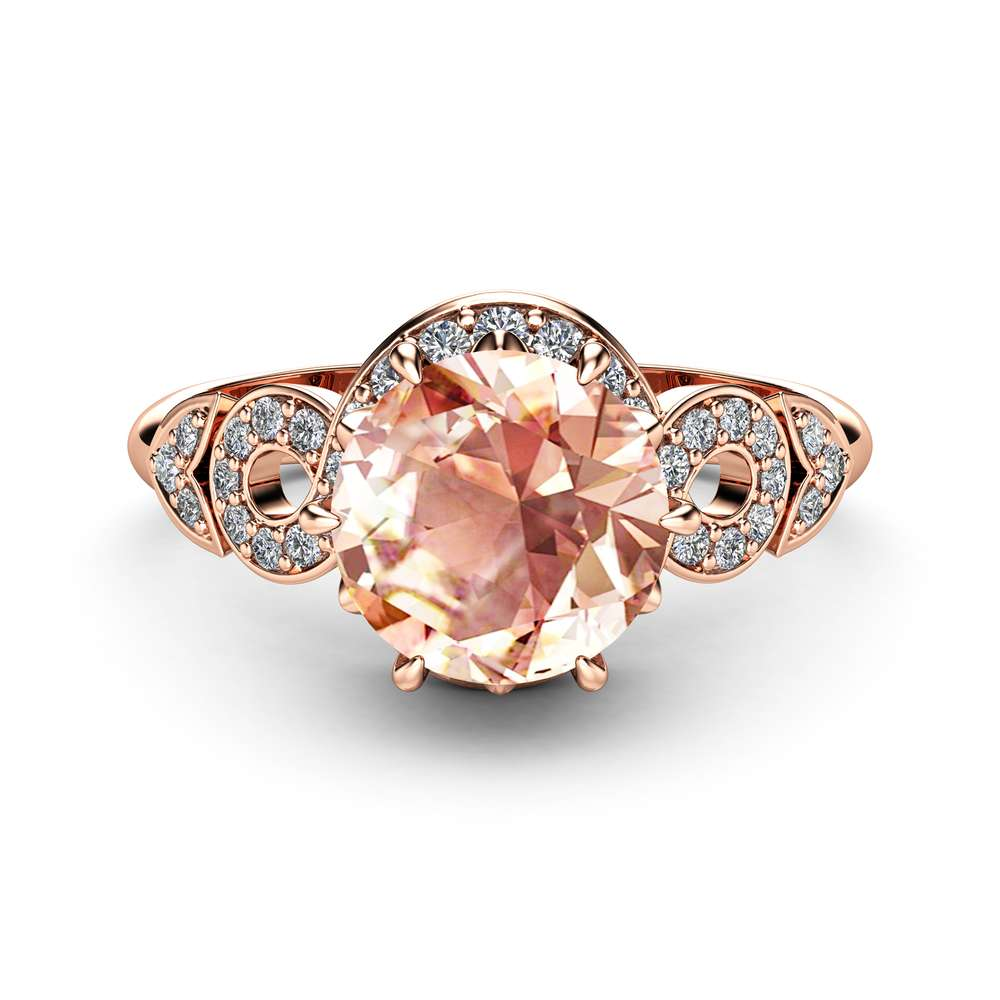 Halo Morganite Engagement Ring 14K Rose Gold Ring Unique Twisted Halo Engagement Ring