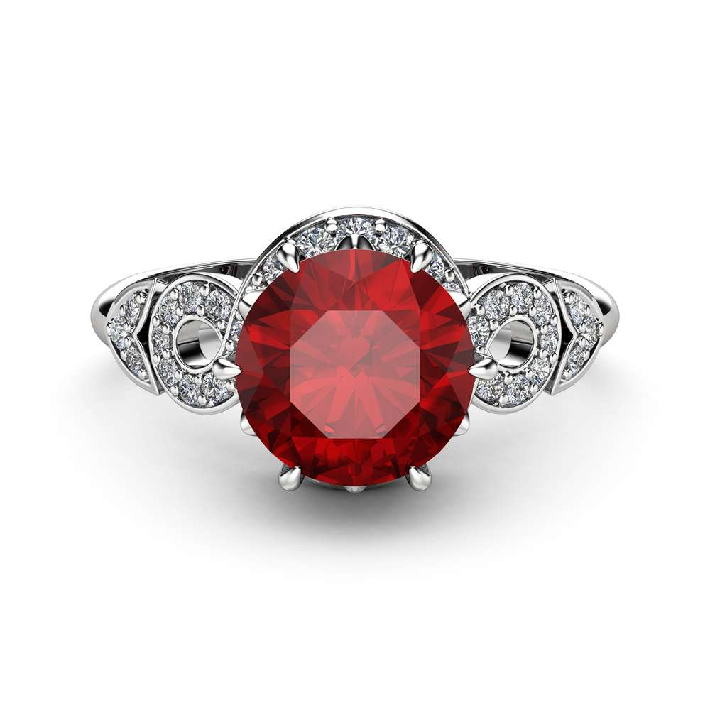 Unique Ruby Engagement Ring 14K White Gold Ring Twisted Halo Ring Natural Ruby Engagement Ring