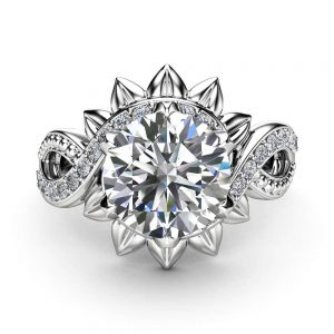 Moissanite Unique Halo Engagement Ring 14K White Gold Engagement Ring Halo Moissanite Ring
