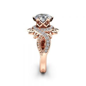 Moissanite Unique Halo Engagement Ring 14K Rose Gold Engagement Ring Halo Moissanite Ring
