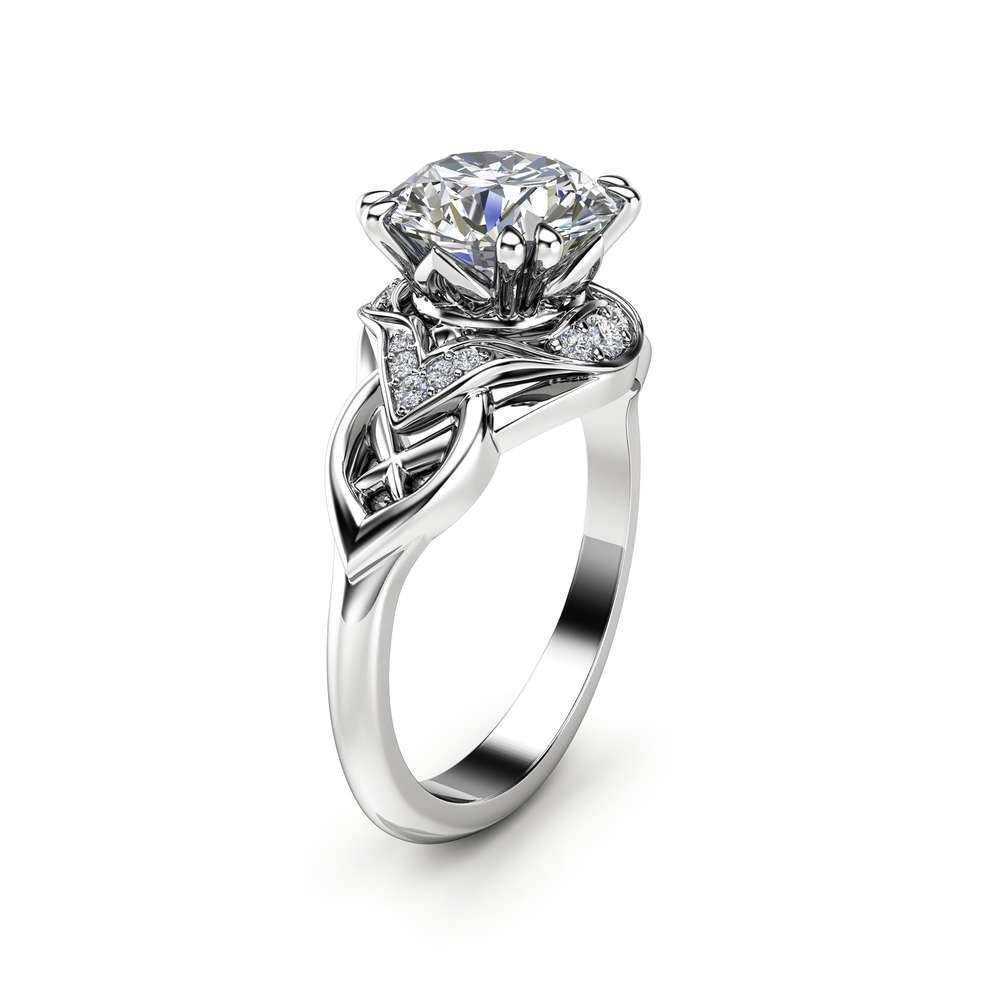 Classic Modern moissanite Bridal Ring Diamond Alternative Unique 14K White Gold Classic Modern Ring