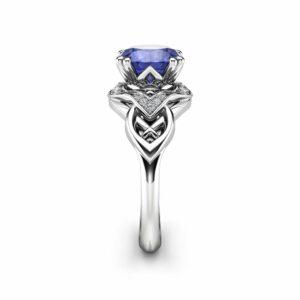 Classic Modern Tanzanite Engagement Ring 14K White Gold Ring Natural Bluish Violet Tanzanite Ring