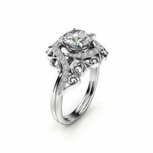 Unique Moissanite Engagement Ring 14K White Gold Moissanite Ring Unique Design Engagement Ring