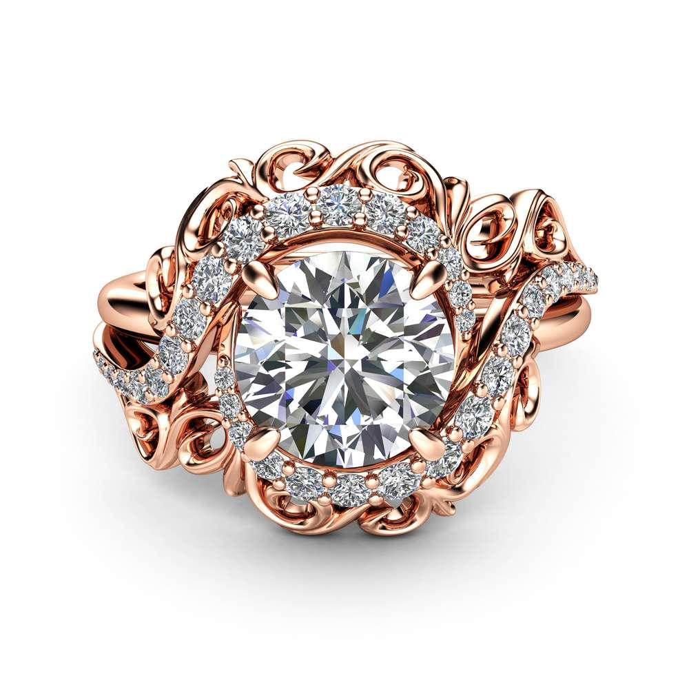 Unique Rose Gold Moissanite Engagement Ring Forever One Moissanite Nature Inspired Engagement Ring