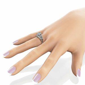 Moissanite Art Deco Engagement Ring 14K White Gold Engagement Ring Halo Ring