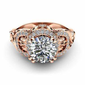 Moissanite Art Deco Engagement Ring 14K Rose Gold Engagement Ring Halo Ring