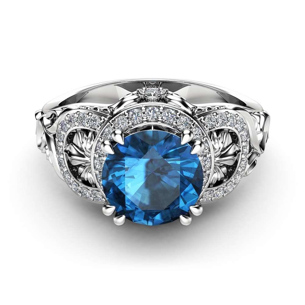 Topaz Art Deco Engagement Ring 14K White Gold Engagement Ring Halo Ring