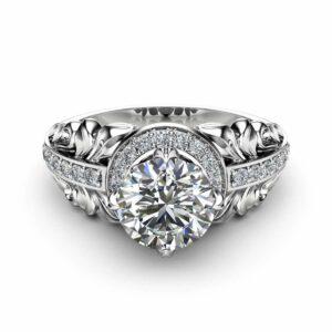 Moissanite Vintage Engagement Ring 14K White Gold Halo Engagement Ring