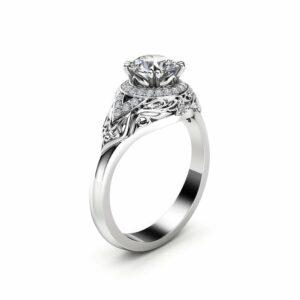 Diamond Halo Engagement Ring 14K White Gold Art Deco Diamond Ring