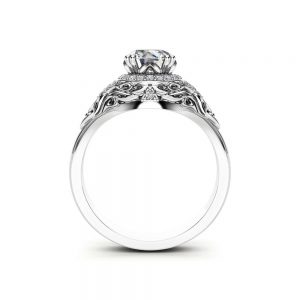 Diamond Halo Engagement Ring 14K White Gold Art Deco Diamond Ring