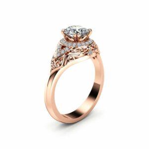 Diamond Halo Engagement Ring 14K Rose Gold Art Deco Diamond Ring