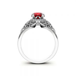 Ruby Halo Engagement Ring 14K White Gold Art Deco Ruby Ring With Natural Diamonds
