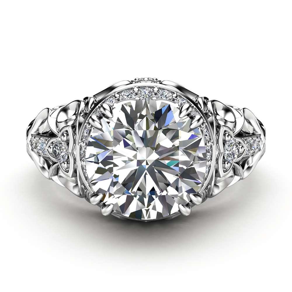 Charles Colvard Moissanite Halo Engagement Ring 14K White Gold Art Deco Ring Moissanite Wedding Ring