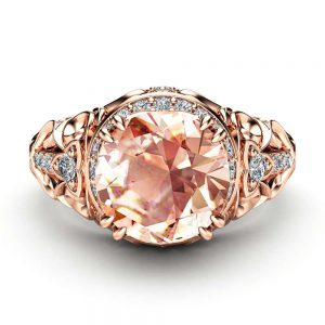 Morganite Halo Engagement Ring 14K Rose Gold Art Deco Ring Morganite Wedding Ring