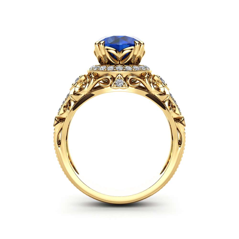 Sapphire Halo Engagement Ring 14K Yellow Gold Art Deco Ring Blue Sapphire Wedding Ring