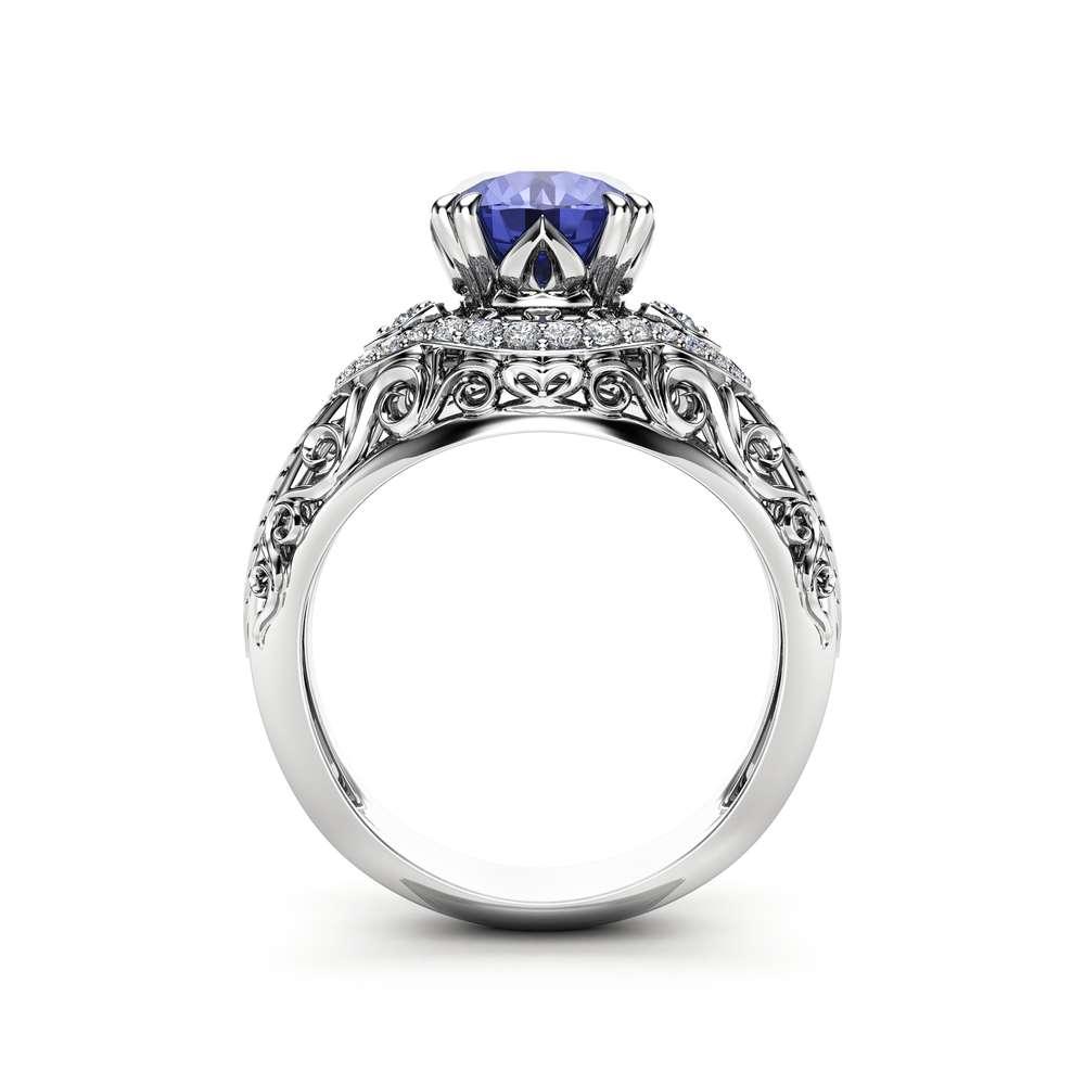 Tanzanite Vintage Engagement Ring 2 Carat Tanzanite Ring Vintage Engagement Ring