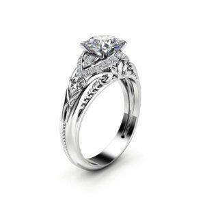 Unique Art Deco Moissanite Engagement Ring 14K White Gold Ring Diamond Alternative Engagement Ring
