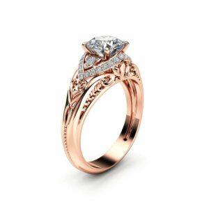 Unique Art Deco Moissanite Engagement Ring Solid 14K Rose Gold Ring Diamonds Halo Moissanite Ring
