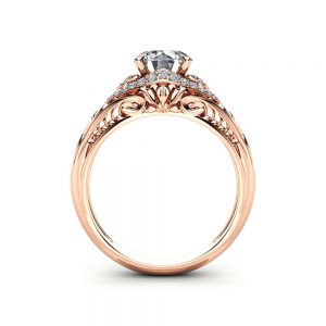 Unique Art Deco Moissanite Engagement Ring Solid 14K Rose Gold Ring Diamonds Halo Moissanite Ring