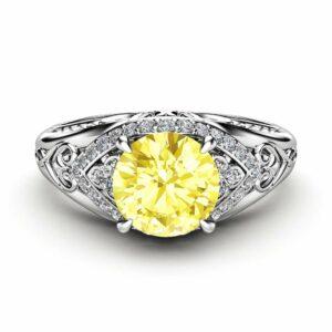 Art Deco Yellow Diamond Engagement Ring 14K White Gold Ring Color Enhanced Natural Diamond Ring