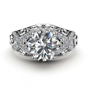 White Gold Moissanite Filigree Engagement Ring 14K White Gold Unique Engagement Ring
