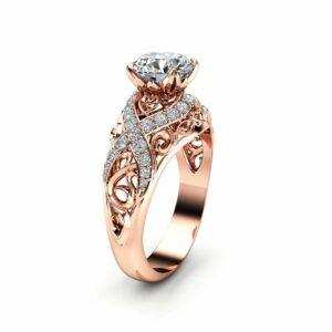 Rose Gold Moissanite Filigree Engagement Ring 14K Rose Gold Unique Engagement Ring