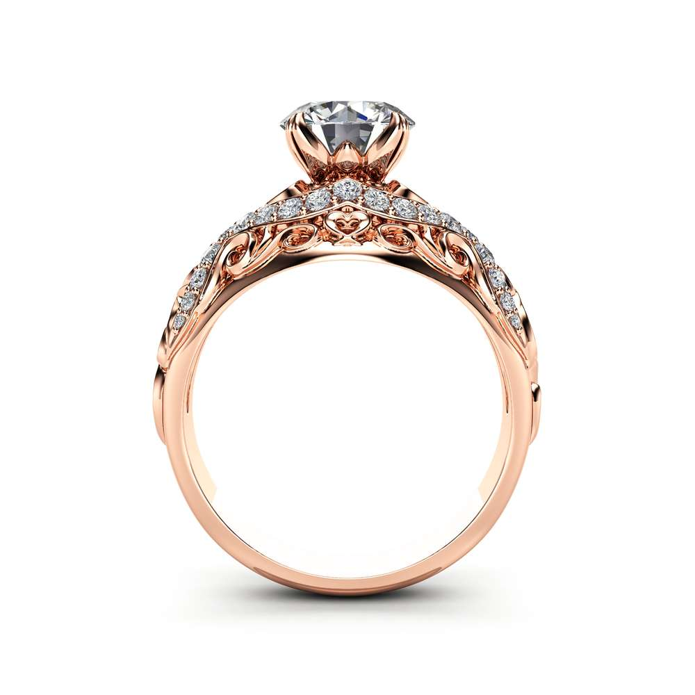 Rose Gold Moissanite Filigree Engagement Ring 14K Rose Gold Unique Engagement Ring