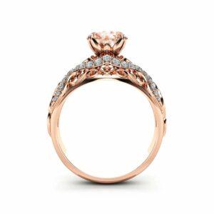 Rose Gold Morganite Filigree Engagement Ring 14K Rose Gold Unique Engagement Ring