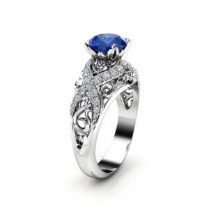 White Gold Sapphire Filigree Engagement Ring 14K White Gold Unique Engagement Ring