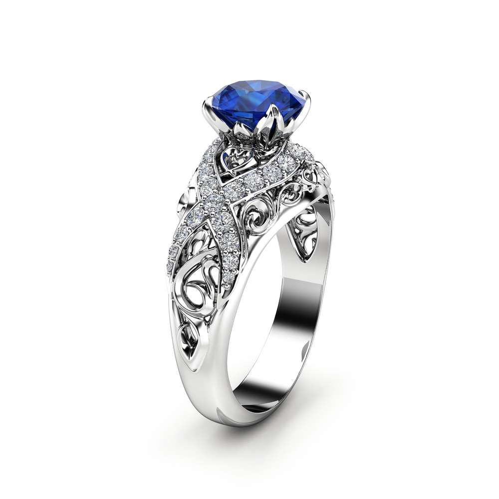 White Gold Sapphire Filigree Engagement Ring 14K White Gold Unique Engagement Ring