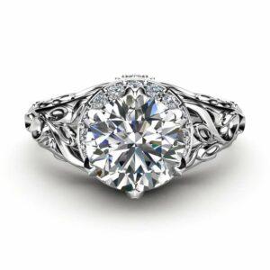 Moissanite Art Deco Engagement Ring 14K White Gold Ring Halo Ring