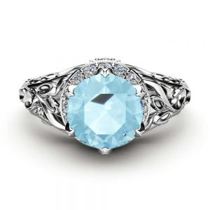 Aquamarine Art Deco Engagement Ring 14K White Gold Ring Halo Ring