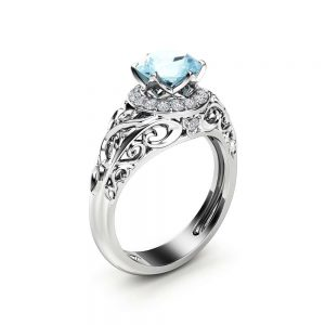 Blue Moissanite Engagement Ring White Gold Ring Halo Engagement Ring