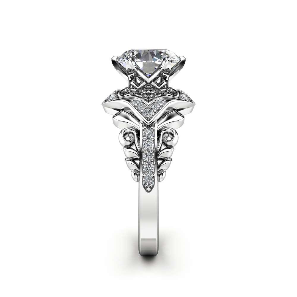 Moissanite Victorian Engagement Ring 14K White Gold Ring Diamond Alternative Engagement Ring
