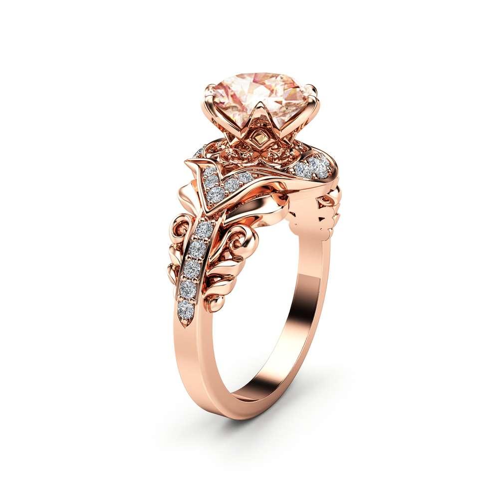 Morganite Victorian Engagement Ring 14K Rose Gold Morganite Ring Art Deco Engagement Ring