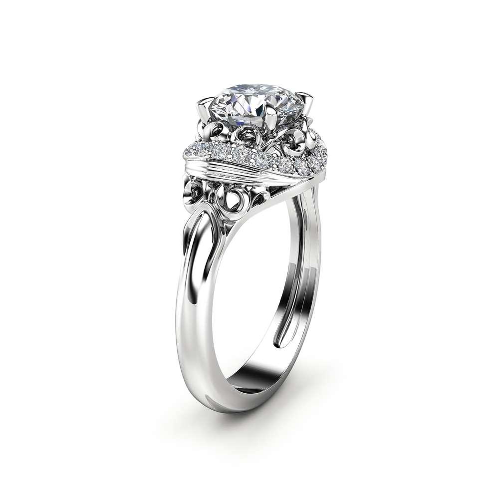 Modern moissanite Engagement Ring Diamond Alternative Unique 14K White Gold Halo Modern Ring
